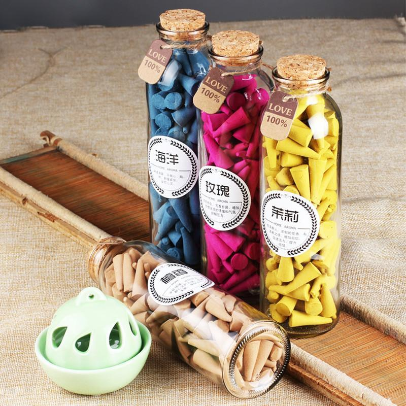 A Bottle of Natural Chinese Incense Cones - 95 pcs per bottleRing