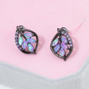 Pink Fire Opal and Amethyst Leaf Stud Black Earringsearring