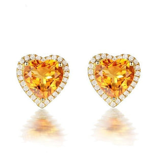 Citrine Heart Diamond Stud Earringsearring