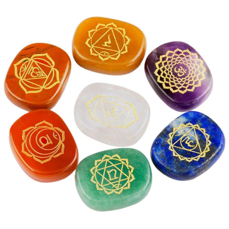 7 Engraved Chakra Palm Crystal Reiki Healing Stones - AtPerrys Healing Crystals - 7