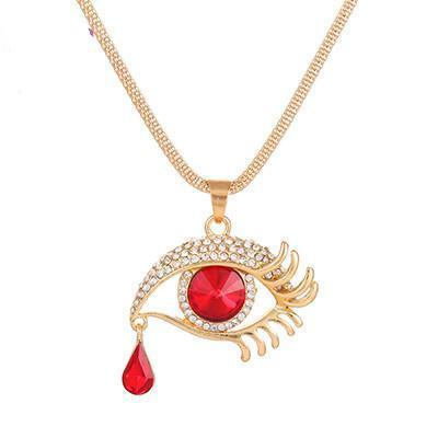 18k gold plated crystal glamorous eye long necklace   matans store.myshopify.com