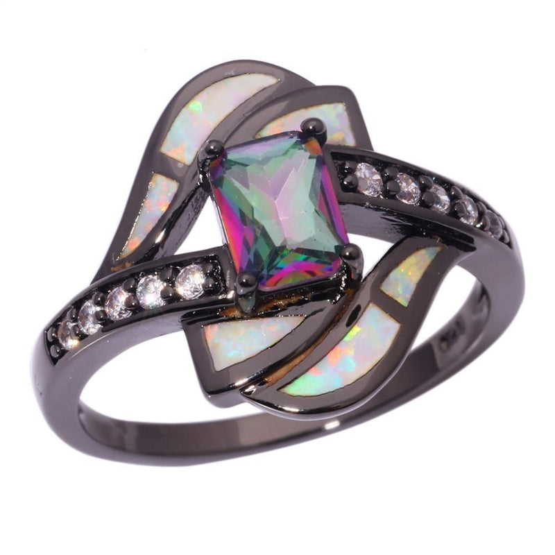 Rainbow Mystic Topaz and White Fire Opal Geometric RingRings6