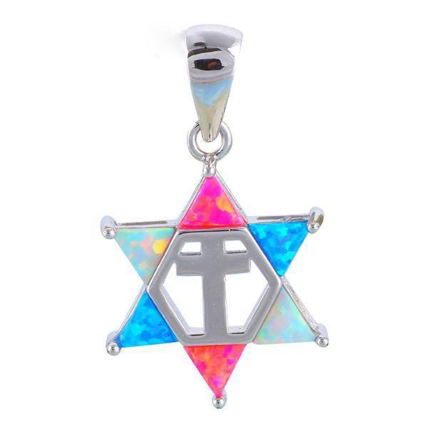 Star of David & Cross Fire Opal Silver Pendant - atperry's healing crystals