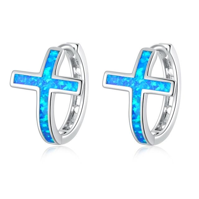 White Blue Fire Opal Cross Hoop EarringsEarringsBlue Fire Opal