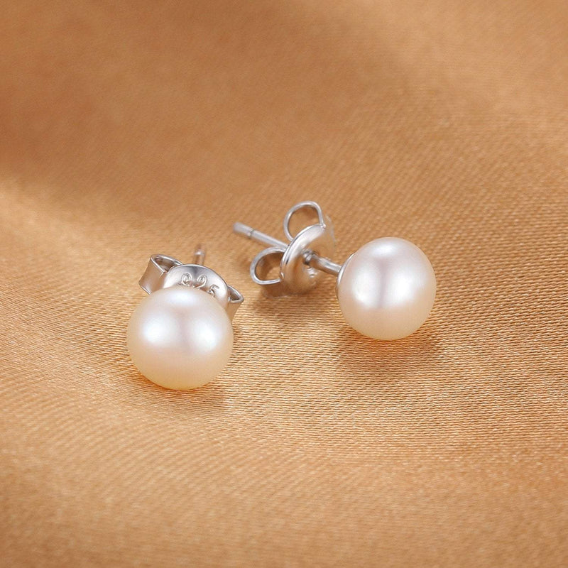 Pearl Stud Earrings - 925 Sterling Silver - atperry's healing crystals