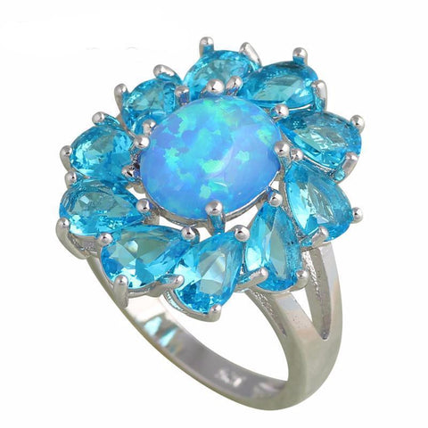 Blue Fire Opal 925 Sterling Silver Crystal Ring