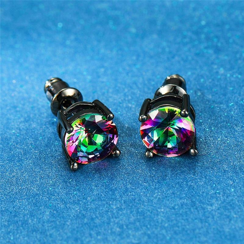 Rainbow Mystic Topaz Black Gold Stud EarringsEarrings
