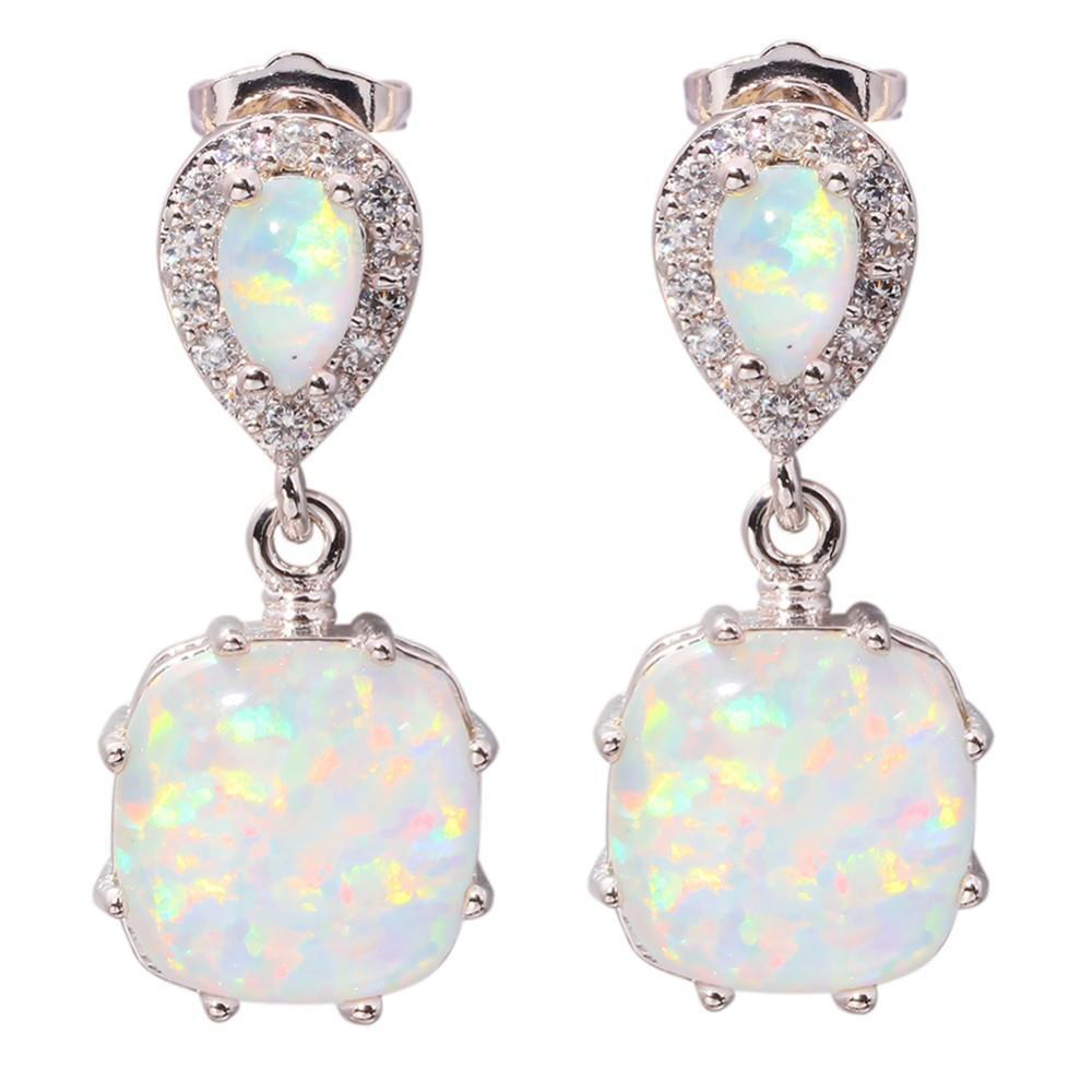White Fire Opal Earrings