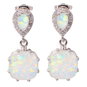 White Fire Opal Earrings - atperry's healing crystals