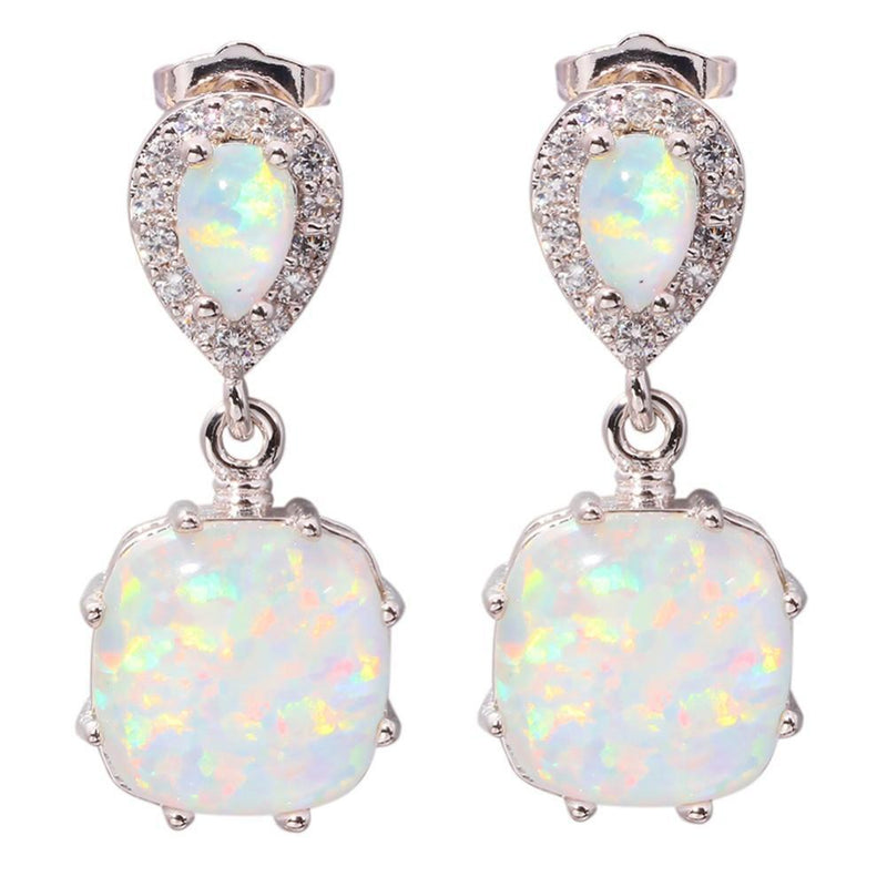 White Fire Opal EarringsEarrings