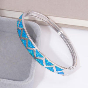 Blue Fire Opal Stone Adorable Bangle BraceletBracelet