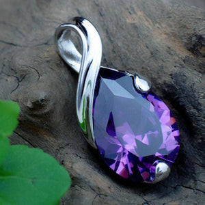 Natural Amethyst Tear Pendant - atperry's healing crystals