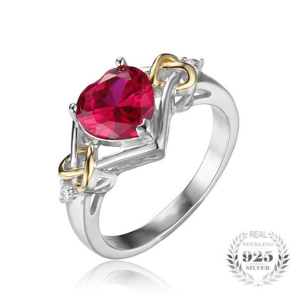 Heart Red Ruby Ring - 925 Sterling Silver - AtPerry's Healing Crystals™