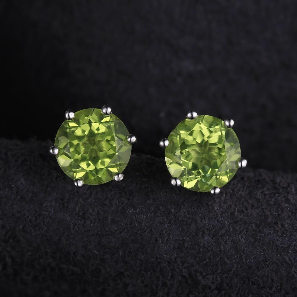 Natural Peridot Earrings - 925 Sterling Silver - AtPerry's Healing Crystals™
