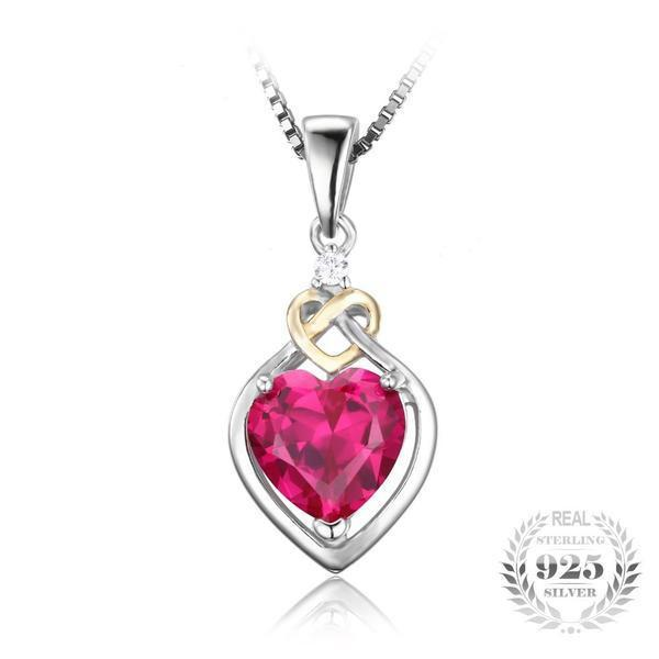 Heart Ruby Pendant - 925 Sterling Silver