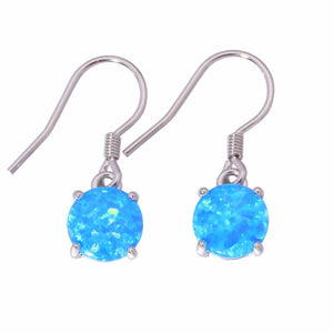 Blue White Fire Opal Drop Earrings - 925 Sterling SilverEarringsBlue