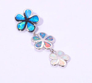 925 Sterling Silver Rainbow Flower Pendant