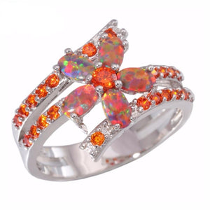 Simulated Orange Fire Opal Garnet Elegant Ringring6
