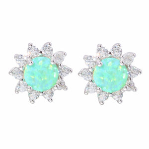 Green & White Round Fire Opal Sunflower Stud Earrings - 925 Sterling SilverEarringsGreen