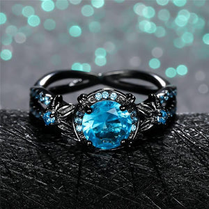 Glorious Aquamarine Black Ring