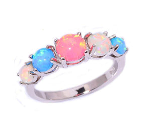 Blue Pink White Fire Opal Silver Ring   matans store.myshopify.com