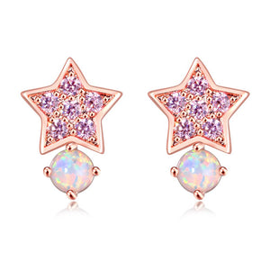 White Fire Opal Amethyst Star Shape Rose Gold Stud EarringsEarrings