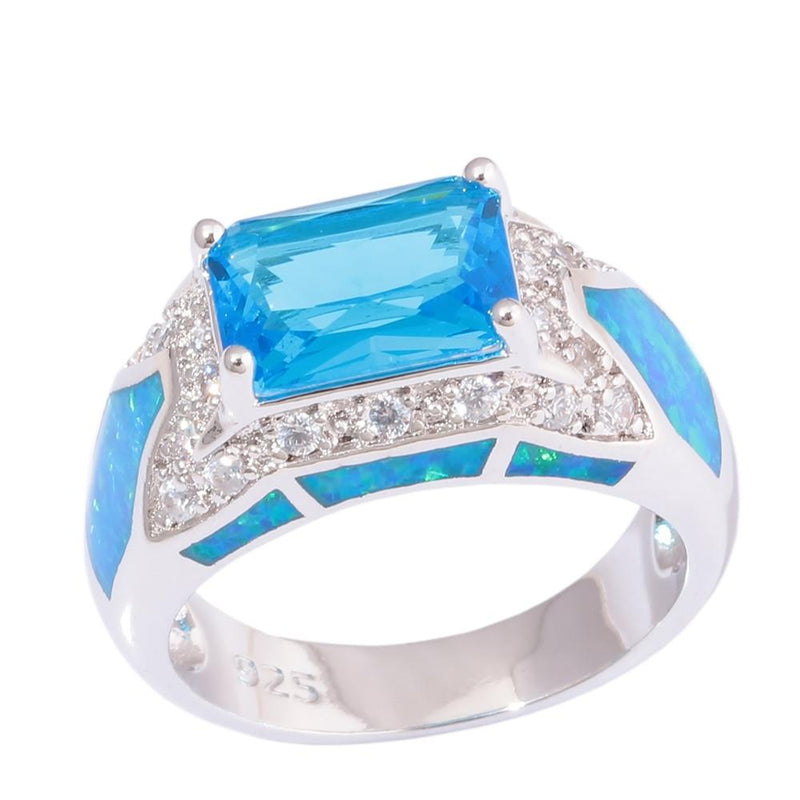 Blue Fire Opal and Aquamarine Geometric Ring6