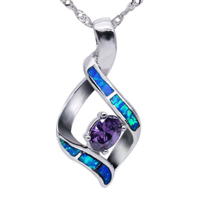 Blue Opal & Amethyst Pendant - atperry's healing crystals
