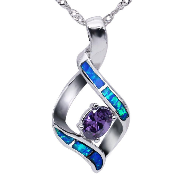 Blue Opal & Amethyst Pendant - AtPerry's Healing Crystals™