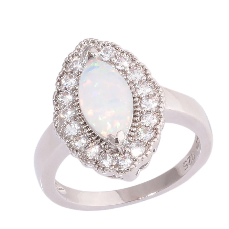 White Fire Opal Cubic Zirconia Oval RingRings9