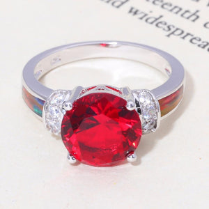 Orange Fire Opal and Red Garnet Round RingRings8