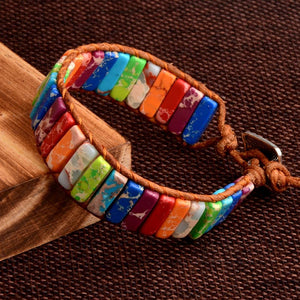 Radiant Bohemia Natural Stone Leather Wrap BraceletBracelet