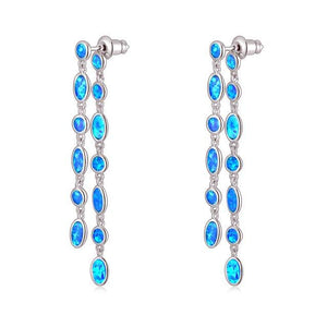 Blue Fire Opal Silver Plated Jewelry Dangle EarringsDangel EarringsOH4769