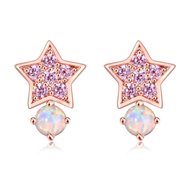 Pink Fire Opal Star Stud EarringsEarrings