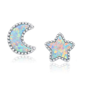 Moon & Star White Fire Opal Stud EarringsEarringsSilver