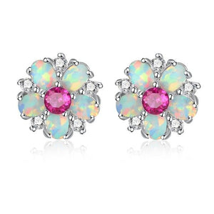 White Fire Opal Stud EarringsEarringsPink