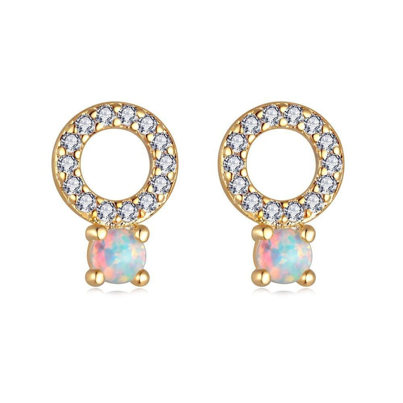 White Round Fire Opal Small Stud Earrings - GoldEarrings