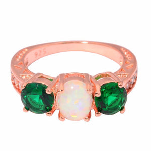 White Fire Opal Green Zirconia Rose GoldRing