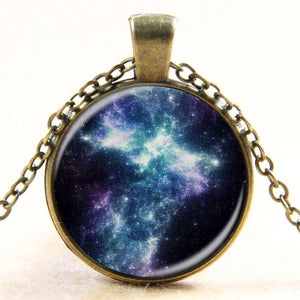 Nebula Galaxy Space Glass Cabochon  Necklace - atperry's healing crystals