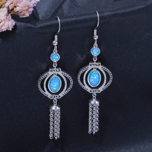 Long Tassel Blue Fire Opal Drop Dangle EarringsEarrings