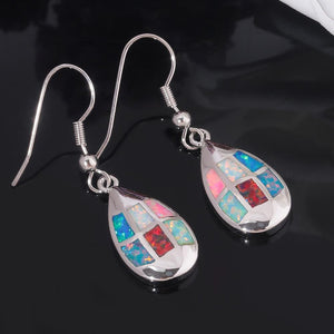 Multi Fire Opal Silver Dangle EarringsEarrings