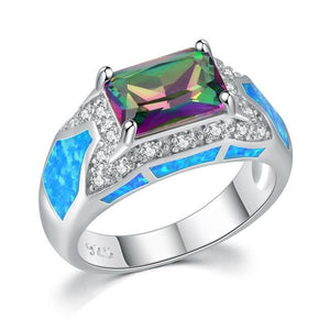 Blue Fire Opal Rainbow Stone Zircon Silver Beautiful Fashion Ring for WomenRing9OJ9618