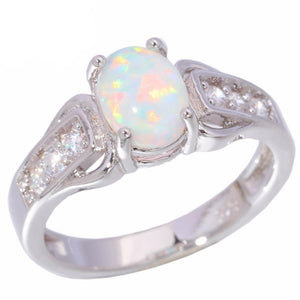 White Fire Opal Cubic Zirconia Silver Ring for Women Jewelry Size 6 7 8 9ring