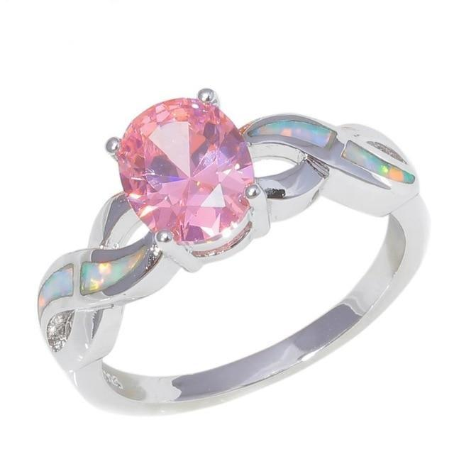 Round Blue and Pink Fire Opal RingRing10Pink