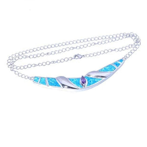 Blue White Fire Opal Purple Zircon Silver Necklace PendantNecklacesOL5455cm