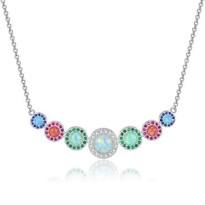Multi Color Opal Graduated Pendant Necklace SilverNecklacesOL88