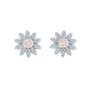 Daisy Fire Opal Stud Earrings Sun Flower Silver Eardrop Herons bill Plant BlueEarringsSky Blue