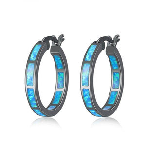 Blue Fire Opal Black Gold Color Hoop EarringsEarrings