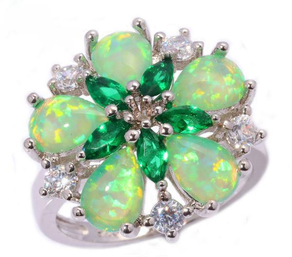 Green Fire Opal Silver Flower Ring - AtPerry's Healing Crystals™