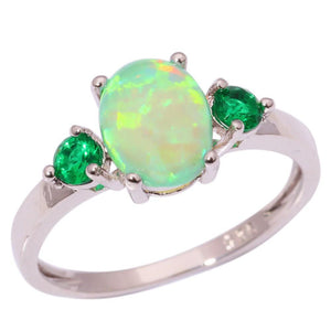 Green Fire Opal Silver Single Stone Ring - atperry's healing crystals